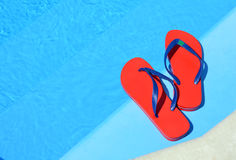 Pair of red flip-flops. Stock Image