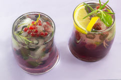 Pair of red forest fruit coctails with ice, lemon and sliced fru Royalty Free Stock Photography