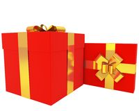 Pair of red gift boxes with gold ribbons Stock Photos