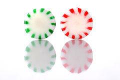 Pair of Red and Green Peppermint Candies Royalty Free Stock Photo