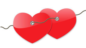 Pair of red hearts Royalty Free Stock Photos