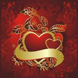 Pair of red hearts Stock Images