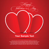 Pair red hearts, Happy Valentines Day card. Royalty Free Stock Image