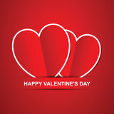 Pair red hearts, Happy Valentines Day card. Royalty Free Stock Photos