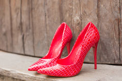 Pair of red high heel shoes Royalty Free Stock Image