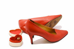 Pair of red high heeled shoes Stock Photography