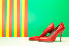 Pair of red high heels Stock Photo