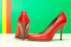 Pair of red high heels Stock Images
