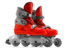A pair of red inline skates on white background Stock Photography