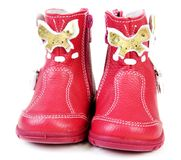 Pair red leather baby boots Stock Photography