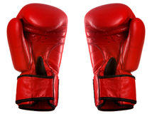 Pair of red leather boxing gloves Royalty Free Stock Image
