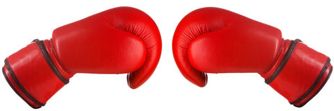 Pair of red leather boxing gloves Stock Photos