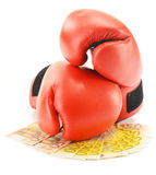 Pair of red leather boxing gloves and euro banknotes on white Royalty Free Stock Image