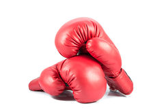Pair of red leather boxing gloves isolated Stock Image