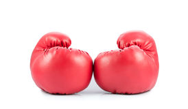 Pair of red leather boxing gloves isolated Royalty Free Stock Photography