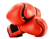 Pair of red leather boxing gloves isolated on white Royalty Free Stock Image