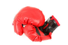 Pair of red leather boxing gloves isolated on white Royalty Free Stock Images