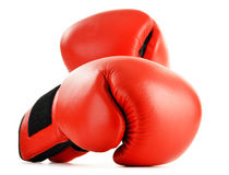 Pair of red leather boxing gloves isolated on white Stock Images