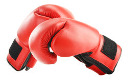 Pair of red leather boxing gloves  on white Royalty Free Stock Image