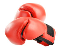Pair of red leather boxing gloves  on white Royalty Free Stock Photography