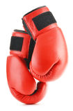 Pair of red leather boxing gloves  on white Stock Photo