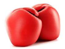Pair of red leather boxing gloves on white Stock Photography