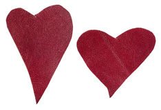 Pair of red leather hearts isolated Stock Image