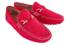 Pair of red men shoes over white Stock Photos