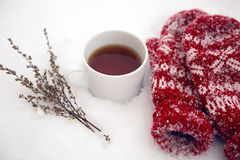 Pair of red mittens lie on the snow Royalty Free Stock Images