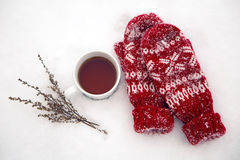 Pair of red mittens lie on the snow Royalty Free Stock Photography