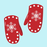 Pair of red mittens Royalty Free Stock Images
