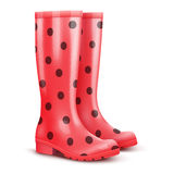 Pair of red rain boots Royalty Free Stock Image