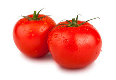 Pair of red ripe tomatoes Stock Photo