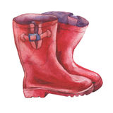 Pair of red rubber boots. Hand drawn watercolor painting on white background Royalty Free Stock Photography