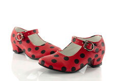 Pair red shoes from back with black dots Royalty Free Stock Images