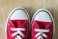 Pair of red sneakers Royalty Free Stock Photos