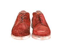 A pair of red suede shoes Stock Photos