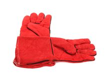 Pair of red textile working gloves. Royalty Free Stock Photo