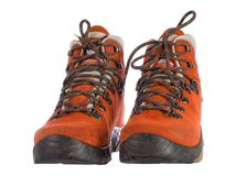 Pair of red trekking boots from front Royalty Free Stock Image