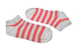 Pair Red And White Striped Ladies Socks Stock Image
