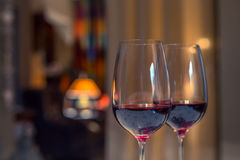 Pair of red wine glasses, closeup shot Royalty Free Stock Images