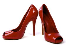 Pair of Red Women's High-Heel Shoes 1 Stock Photo