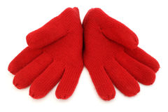 Pair of red woolen gloves Stock Photography