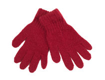Pair of red woolen gloves. Isolate on white stock photo