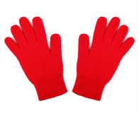 Pair of red woolen gloves isolated on white Stock Photo