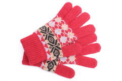 Pair of red woolen gloves on white background Royalty Free Stock Image