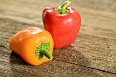Pair of Red and Yellow Bell Peppers Royalty Free Stock Photography