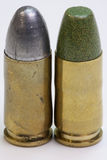 Pair of reloaded pistol cartridges Stock Images