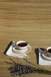 Pair of retro coffee cups Stock Images