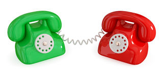 Pair of retro telephones. Royalty Free Stock Photos